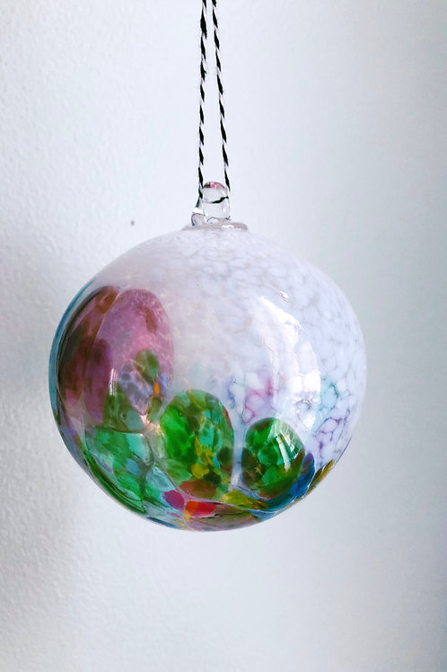 Handblown Glass Ornament/ wht and multi