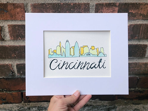 Cincinnati Skyline Watercolor Drawing
