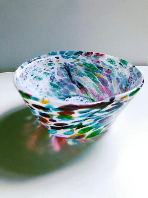 Handblown Glass Bowl; wht, multi