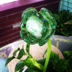 Handcrafted Glass rose in green and white with green stem #merrittart #madbymerritt #handcraftedglas