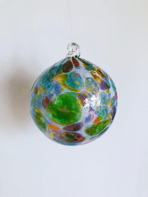 Handblown Glass Ornament/ wht and dark multi