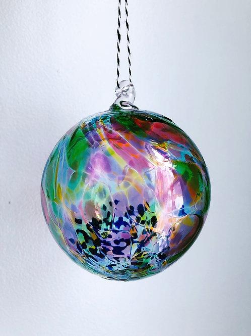 Handblown Glass Ornament/ multi and blue