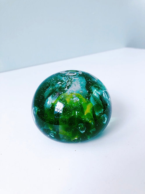 Handcrafted Dragon Egg; ylw, emerald grn