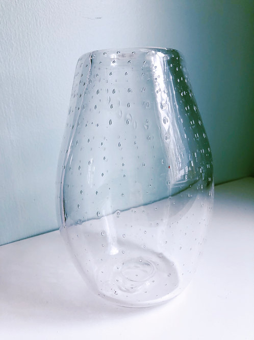Handblown Glass Vase/ cleat with bubbles