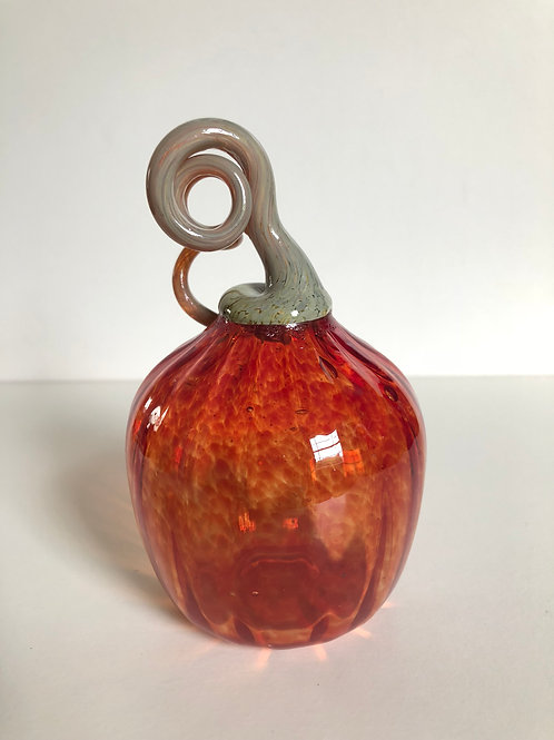 Handblown Glass Pumpkin; orange w/ tan stem