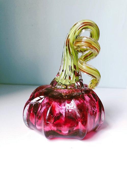 Handblown Pumpkin; pink/green stem