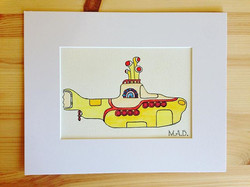 Yellow Submarine Watercolor Drawing #madbymerritt #merrittart #yellowsubmarine #watercolor