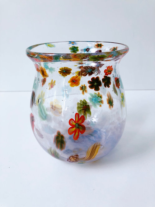 Handblown Millefiori Vase w/ purple
