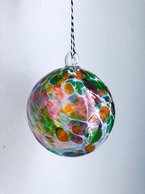 Handblown Glass Ornament/ wht and green multi