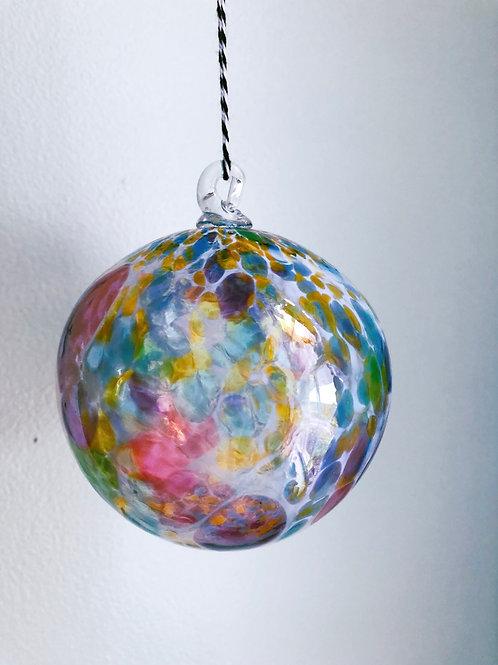 Handblown Glass Ornament/ wht and multi