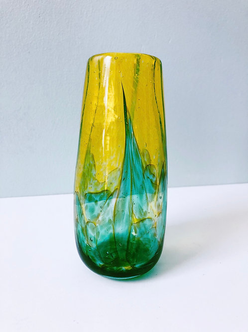Handblown Glass Vase/ ylw, emerald grn