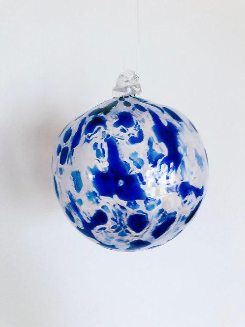 Handblown Glass Ornament/blue and wht