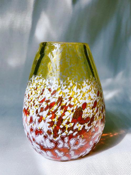 Handblown Glass Vase; ylw, wht, orange