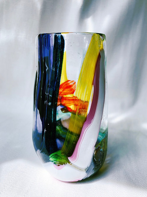 Handblown Glass Vase; multi cane