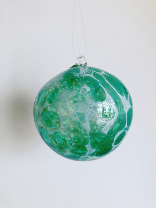 Handblown Glass Ornament/ wht and green
