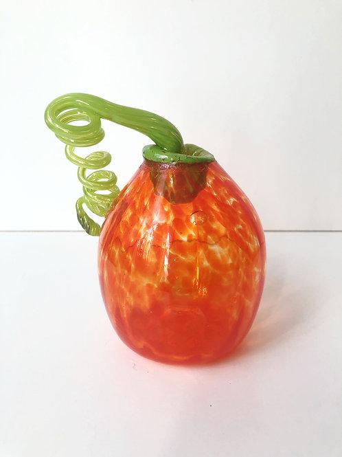 Handblown Glass Pumpkin; orange w/ green stem