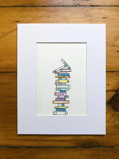 Book Nerd Watercolor Drawing