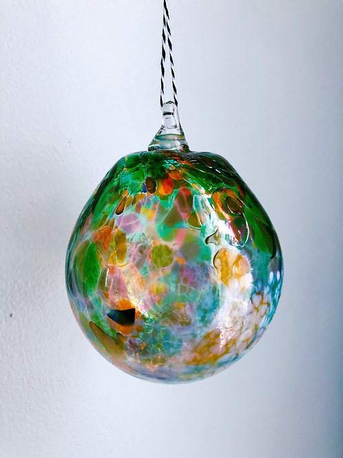 Handblown Glass Ornament/ green multi