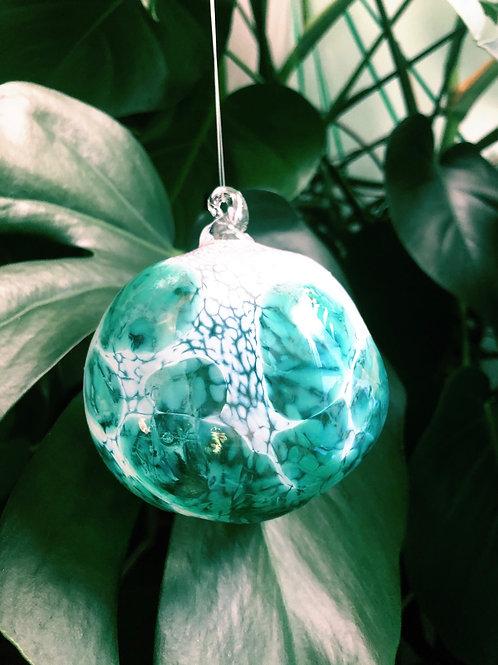 Handblown Glass Orb; wht, emerald grn
