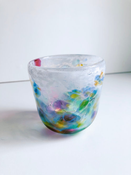 Handblown Glass Cup/ white and multi