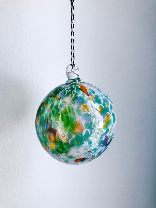 Handblown Glass Ornament/ wht and green multi