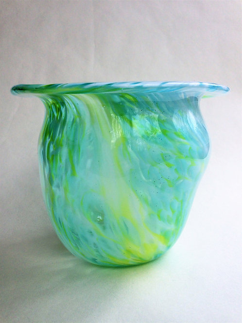Handblown Vase/ lime green and aqua on white