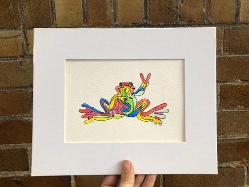Peace Frog Watercolor Drawing