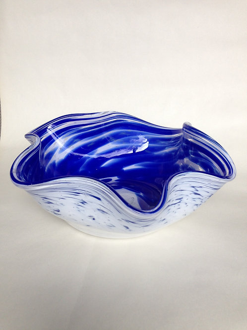 "Blue & White Handblown Glass ""Chihuly"" Bowl"