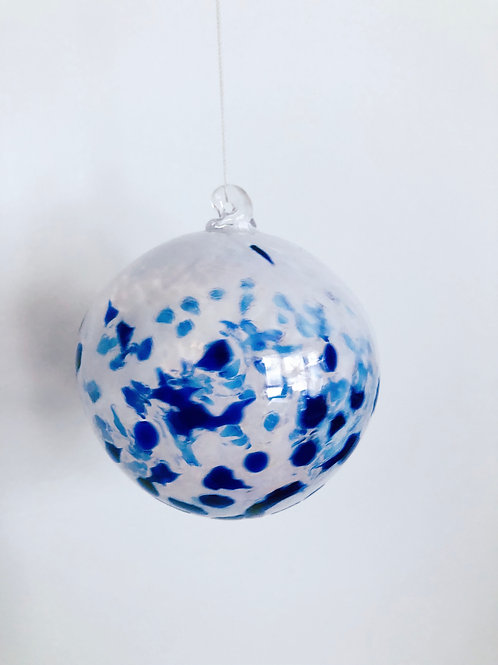 Handblown Ornament/ wht and blue