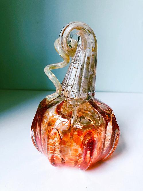 Handblown Pumpkin; orange/tan stem