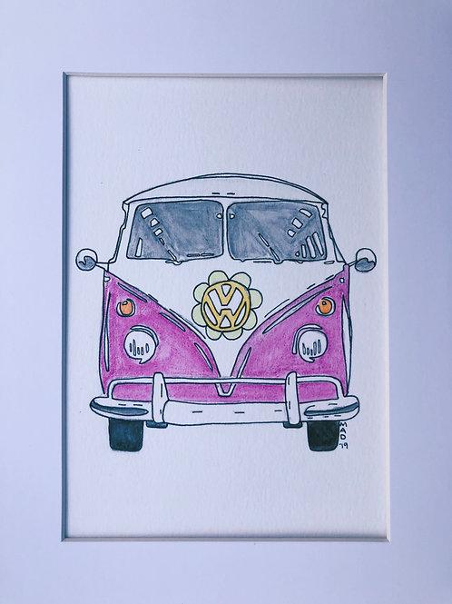 VW Bus Watercolor Drawing