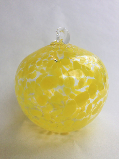 Yellow Handblown Glass Orb