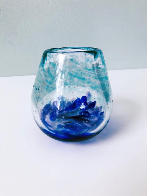 Handblown Glass Vase/ aqua, cobalt, purple