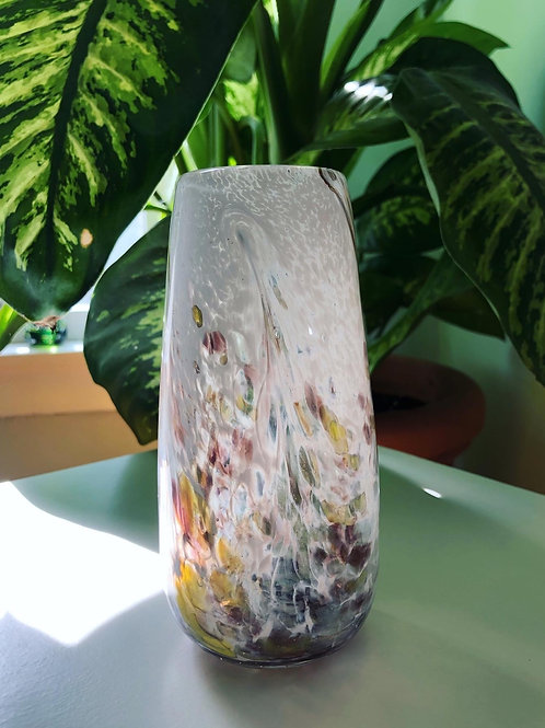 Handblown Glass Vase/ wht and red multi