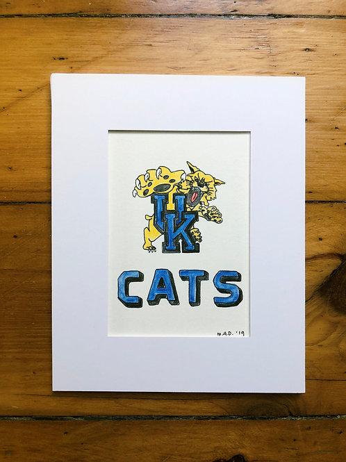 UK Wildcat Watercolor Drawing