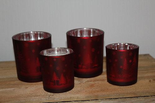 Rood theelicht met kerstmotief (4 stuks)