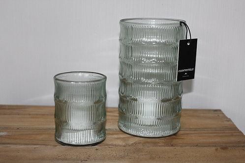 Set windlichten glas met grote kaars