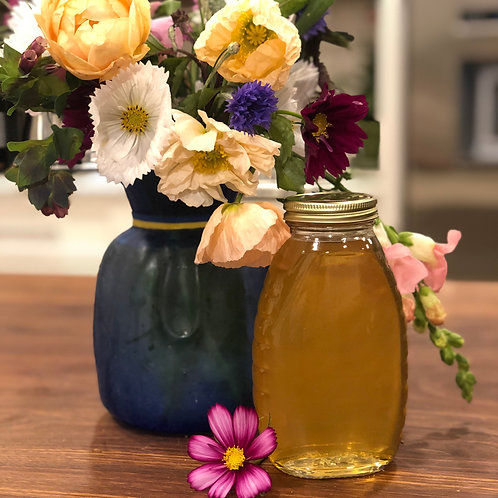 Bundle-15 stems of flowers and 1lb of honey