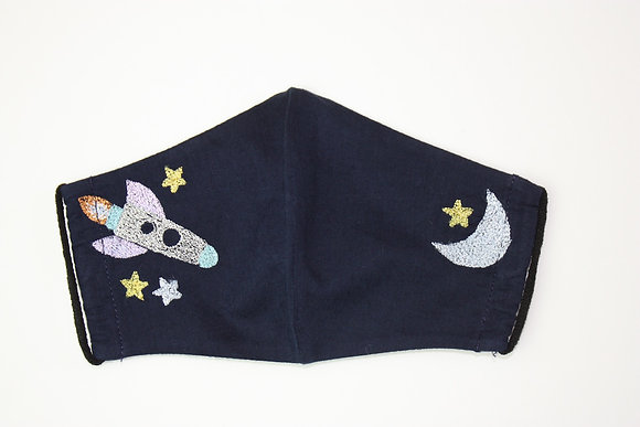 Rocket to the Moon Embroidered Children's Face Mask