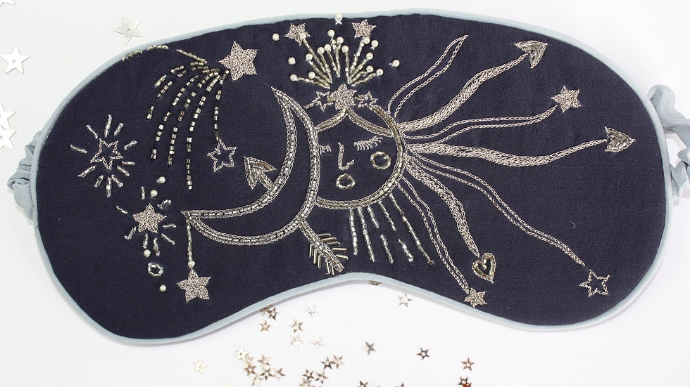 Limited Edition 'Celestial Sky' Hand Embellished Silk Sleep Mask
