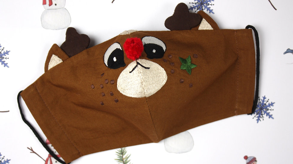 Adult's 'Rudolph Pompom' Embroidered Face Mask