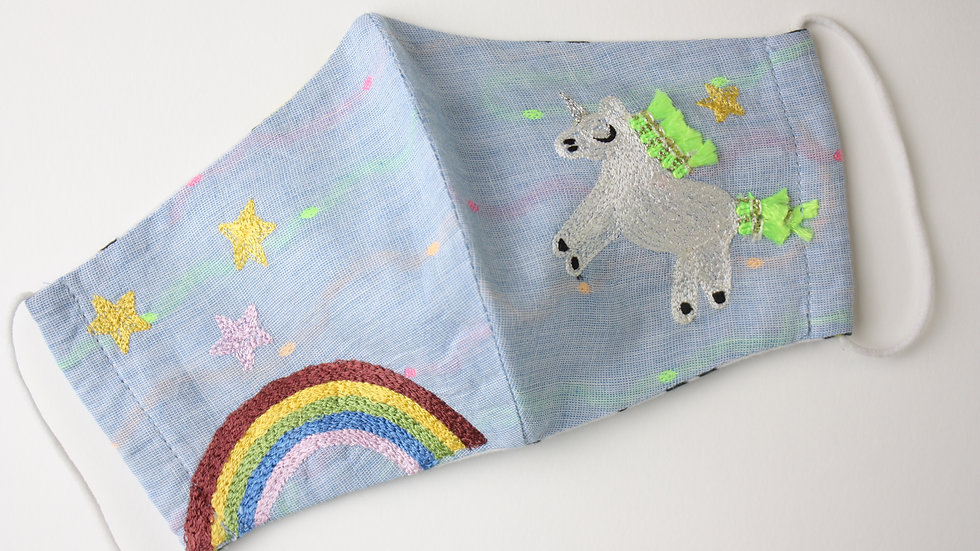 Mini 'Over the Rainbow' Embroidered Children's Face Mask