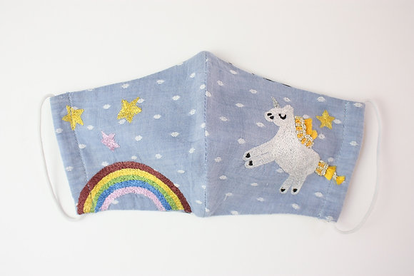 'Over the Rainbow' Embroidered Children's Face Mask