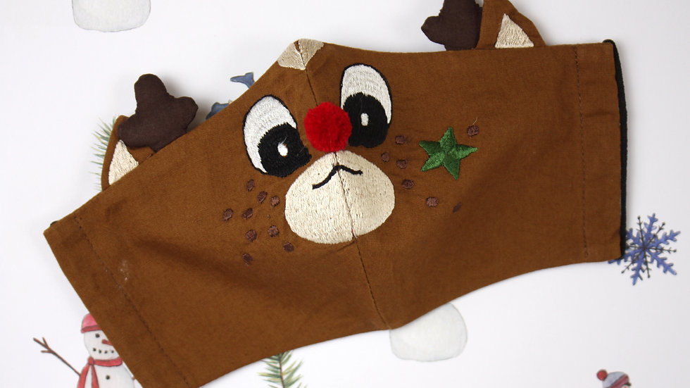 Mini 'Rudolph Red Nose' Embroidered Face Mask