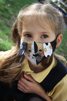 'Grumpy Dog' Embroidered Children's Face Mask