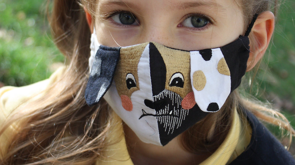 Mini 'Grumpy Dog' Embroidered Face Mask