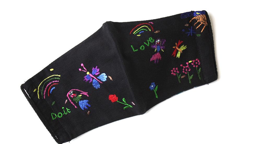 Mini 'Fairies Love Gardens' Embroidered Face Mask