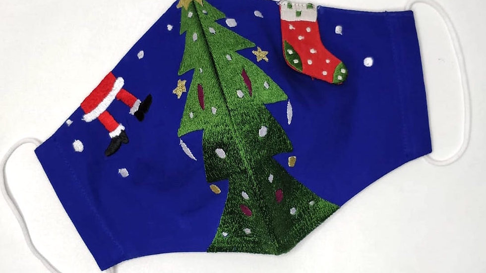Adult's 'Christmas Tree Glee' Embroidered Face Mask