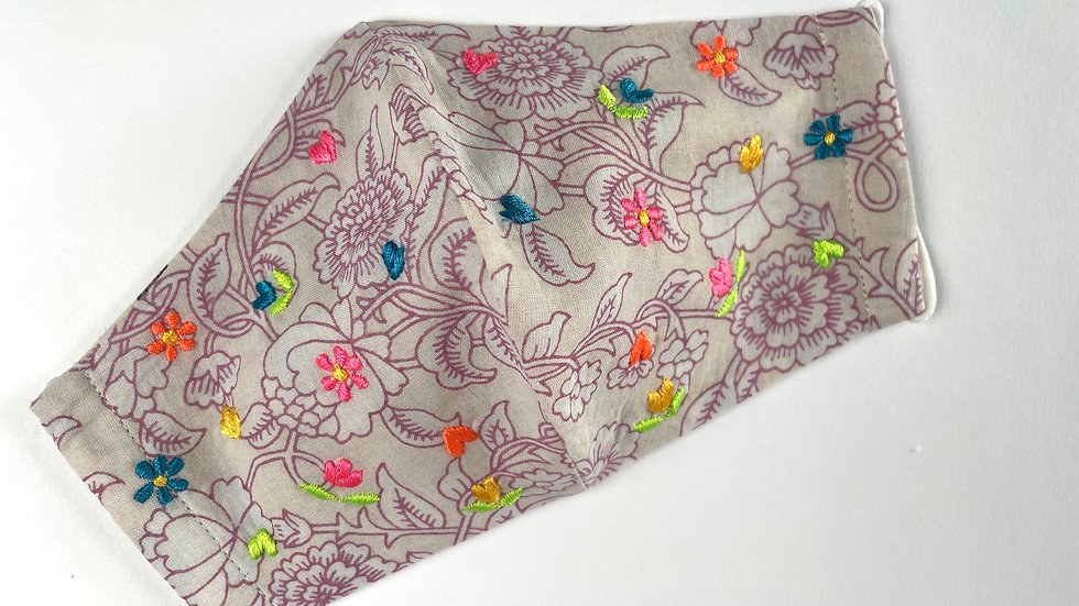 Neon Ditsy Floral Reversible Embroidered Face Mask