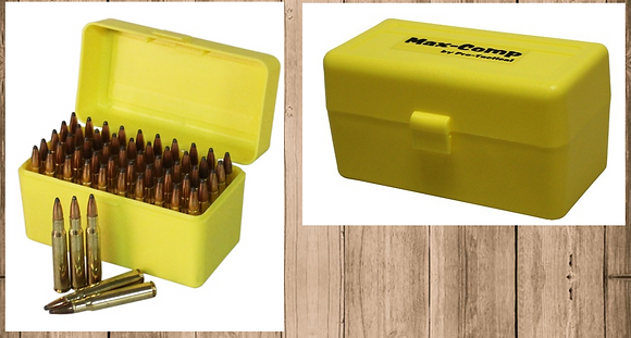 MAX-COMP AMMO BOX MED RIFLE 50RND YELLOW FITS .22-250, .243, .308
